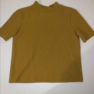 Mustard mock neck top